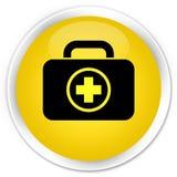 First aid kit icon premium yellow round button. First aid kit icon isolated on premium yellow round button abstract illustration Stock Photo