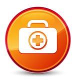 First aid kit icon special glassy orange round button. First aid kit icon isolated on special glassy orange round button abstract illustration stock illustration