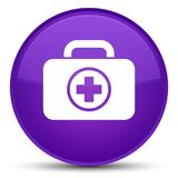 First aid kit icon special purple round button. First aid kit icon isolated on special purple round button abstract illustration Royalty Free Stock Photos
