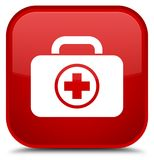 First aid kit icon special red square button Royalty Free Stock Photography