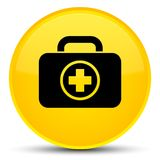 First aid kit icon special yellow round button. First aid kit icon isolated on special yellow round button abstract illustration Royalty Free Stock Photo