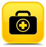 First aid kit icon special yellow square button. First aid kit icon isolated on special yellow square button abstract illustration Royalty Free Stock Photography