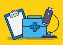 First aid kit icon. Microscope and first aid kit icon over yellow background colorful design vector illustration Stock Images