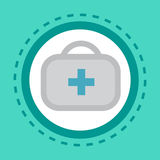 First Aid Kit Icon Online Consultation Button Concept Health Care Clinics Hospital Service. Flat Vector Illustration Stock Photo