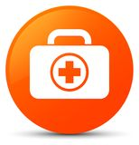 First aid kit icon orange round button. First aid kit icon isolated on orange round button abstract illustration Royalty Free Stock Images