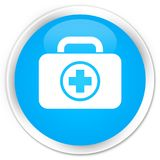 First aid kit icon premium cyan blue round button. First aid kit icon isolated on premium cyan blue round button abstract illustration Royalty Free Stock Photos