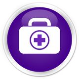 First aid kit icon premium purple round button. First aid kit icon isolated on premium purple round button abstract illustration Royalty Free Stock Image