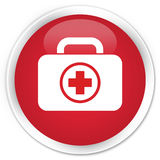 First aid kit icon premium red round button Royalty Free Stock Photos
