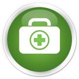 First aid kit icon premium soft green round button. First aid kit icon isolated on premium soft green round button abstract illustration Stock Photography