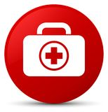 First aid kit icon red round button Royalty Free Stock Images