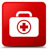 First aid kit icon red square button Royalty Free Stock Photography