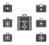 First aid kit icon set, vector symbol . First aid kit icon set, vector symbol in outline flat style isolated on white background Royalty Free Stock Photos