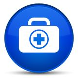 First aid kit icon special blue round button. First aid kit icon isolated on special blue round button abstract illustration Stock Photos