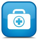 First aid kit icon special cyan blue square button. First aid kit icon isolated on special cyan blue square button abstract illustration Stock Images