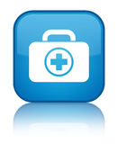 First aid kit icon special cyan blue square button. First aid kit icon isolated on special cyan blue square button reflected abstract illustration Stock Images