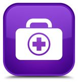 First aid kit icon special purple square button. First aid kit icon isolated on special purple square button abstract illustration Stock Image