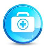 First aid kit icon splash natural blue round button. First aid kit icon isolated on splash natural blue round button abstract illustration stock illustration