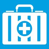 First aid kit icon white. On blue background vector illustration Royalty Free Stock Photography
