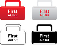 First aid kit icons. Four simple vector illustration of first aid kits Royalty Free Stock Photos