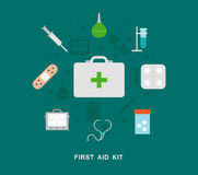 First aid kit icons. Set Stock Photography