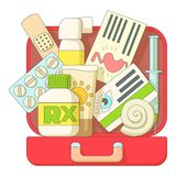 First aid kit icons set, flat style Royalty Free Stock Photography