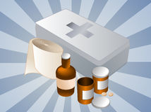 First aid kit illustration. First aid kit and its contents including pills and bandages, illustration Royalty Free Stock Photo