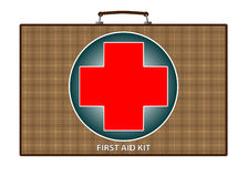 First aid kit illustration. Illustration of first aid kit box with red cross, isolated on white background Royalty Free Stock Image