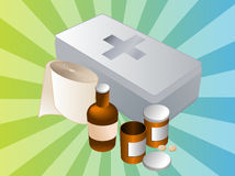 First aid kit illustration. First aid kit and its contents including pills and bandages, illustration Royalty Free Stock Photography