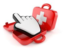 First aid kit with internet cursor Stock Image