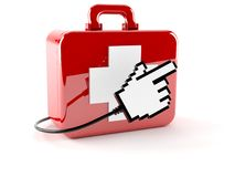 FIrst aid kit with internet cursor. On white background Stock Photo