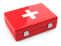 First aid kit isoalted. 3d render of first aid kit isoalted on white background Stock Image