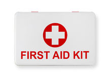 First aid. Kit isolated on white stock photography