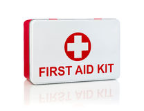 First aid kit. Isolated on white Stock Images
