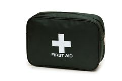 First aid kit  isolated on the white. First aid kit isolated on the white Stock Photo