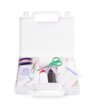 First aid kit isolated on white stock photos