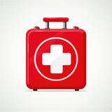 First Aid Kit. Isolated on white red box with white cross. Realistic first aid kit. Isolated on white red box with white cross Stock Image