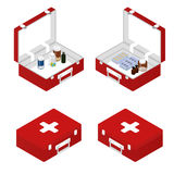 First aid kit in the isometric. Primary care patient. First aid kit in the isometric. Tablets, ointment, capsules inside. A box with a tablet. Medical supplies Stock Image