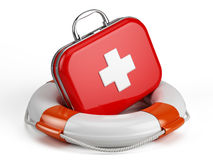 First Aid Kit and Life buoy. 3d render Stock Images