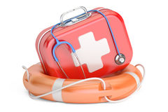First Aid Kit and Life buoy. First Aid concept, 3D rendering. First Aid Kit and Life buoy. First Aid concept, 3D Stock Photos