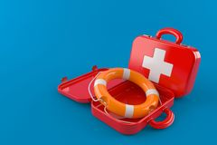 First aid kit with life buoy. Isolated on blue background Royalty Free Stock Photography