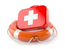 First aid kit with life buoy. Isolated on white background Royalty Free Stock Images