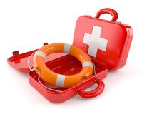 First aid kit with life buoy. Isolated on white background Royalty Free Stock Photo