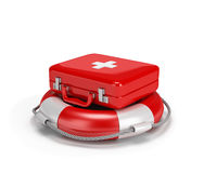 First aid kit on a lifebuoy. 3d image. White background Royalty Free Stock Photo