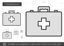 First aid kit line icon. First aid kit vector line icon isolated on white background. First aid kit line icon for infographic, website or app. Scalable icon Royalty Free Stock Images