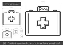 First aid kit line icon. First aid kit vector line icon isolated on white background. First aid kit line icon for infographic, website or app. Scalable icon Royalty Free Stock Photography