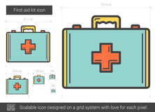 First aid kit line icon. First aid kit vector line icon isolated on white background. First aid kit line icon for infographic, website or app. Scalable icon Royalty Free Stock Image