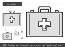 First aid kit line icon. First aid kit vector line icon isolated on white background. First aid kit line icon for infographic, website or app. Scalable icon Stock Photo