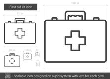 First aid kit line icon. First aid kit vector line icon isolated on white background. First aid kit line icon for infographic, website or app. Scalable icon Stock Images