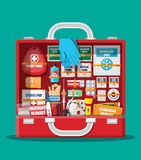 First aid kit with medical equipment. And medications. Bag for medicine. Healthcare, hospital and medical diagnostics. Urgency and emergency services. Vector Royalty Free Stock Photos