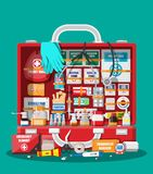 First aid kit with medical equipment. And medications. Bag for medicine. Healthcare, hospital and medical diagnostics. Urgency and emergency services. Vector Stock Images